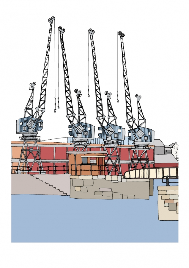 Illustration by Bristol artist Emily Ketteringham showing the cranes on the harbourside outside M Shed. Drawn in clean lines with flat, bold colours.
