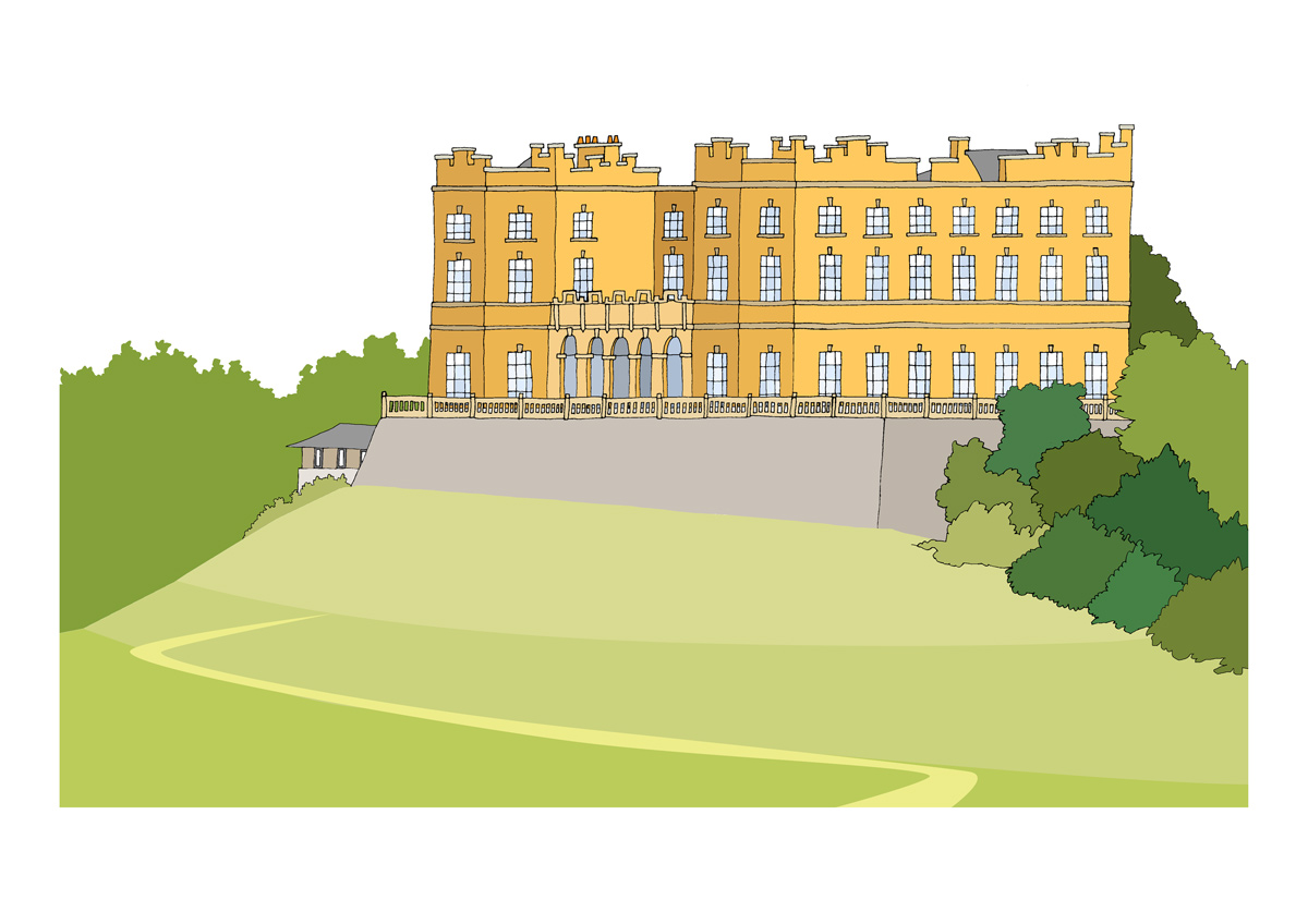 Illustration by Bristol artist Emily Ketteringham showing the iconic yellow Dower house. Drawn in clean lines with flat, bold colours.