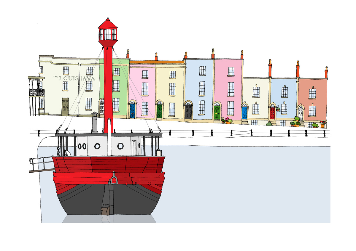 Illustration by Bristol artist Emily Ketteringham showing the Lightship in the Bathurst Basin with the Louisiana pub and coloured terraces behind. Drawn in clean lines with flat, bold colours.